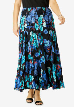 Cotton Crinkled Maxi Skirt, BLACK WATERCOLOR ROSE