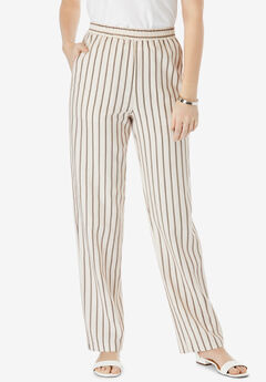 Lightweight Linen-Blend Straight-Leg Pants,
