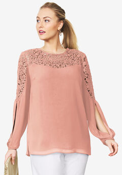 Slit-Sleeve Lace Crinkle Blouse,