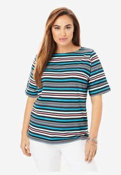 Cuff Tee, TONAL POP STRIPE