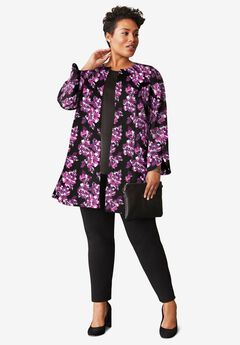 Bi-Stretch Print Topper, PURPLE BOLD FLORAL