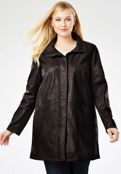 A-Line Zip Front Leather Jacket, BLACK
