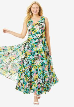 Flyaway Maxi Dress, MULTI TROPICAL GARDEN