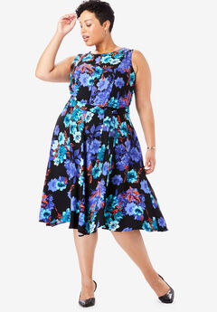 Tie-Waist Fit & Flare Dress, BLACK WATERCOLOR ROSE