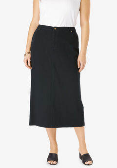 Classic Cotton Denim Long Skirt, BLACK