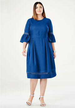 Crochet Bell Sleeve Fit & Flare Dress,