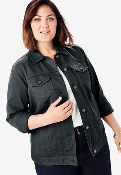 Classic Cotton Denim Jacket, BLACK