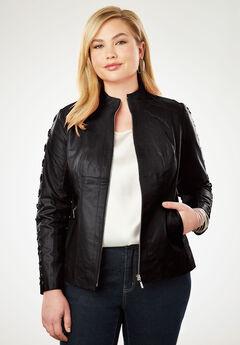 Lace Up Leather Jacket, BLACK