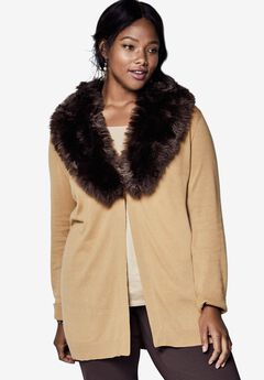 Removable Fur Trim Cardigan,