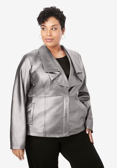 Drape-Front Leather Jacket, SILVER