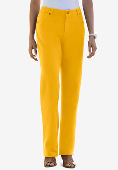 Classic Cotton Denim Straight Jeans, SUNSET YELLOW
