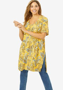 Mega Knit Tunic, YELLOW PLAYFUL PAISLEY