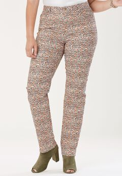 True Fit Straight Leg Jeans, BURNT RED SPECKLE DOT