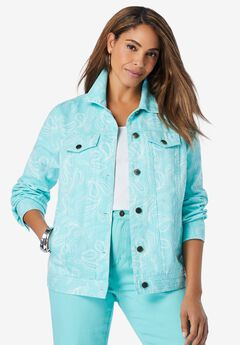 Classic Cotton Denim Jacket, ISLAND AQUA SKETCH PAISLEY