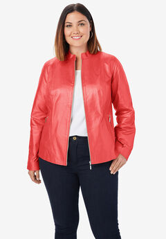 Zip Front Leather Jacket, SOFT GERANIUM