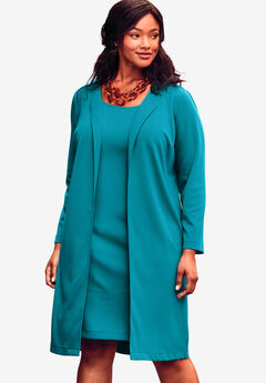 Ponte Jacket Dress, DEEP TURQUOISE