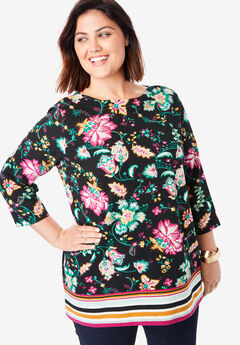 Boatneck Tunic, BLACK FLORAL BORDER