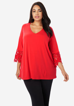 Travel Knit Lace Sleeve Tunic,