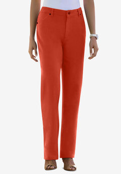 Classic Cotton Denim Straight Jeans, COPPER RED