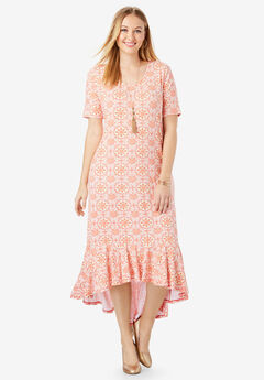 Everyday Knit Flounce Hem Maxi Dress, SUNSET CORAL MOSAIC