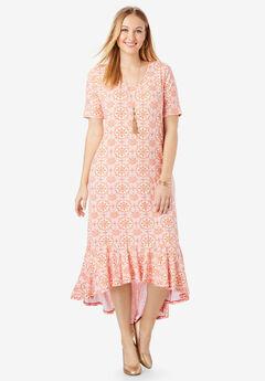 Everyday Knit Flounce Hem Maxi Dress, SUNSET CORAL MOSAIC