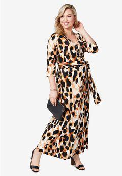 Faux Wrap Maxi Dress, BLACK GIRAFFE PRINT