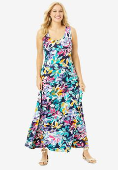 Tank Maxi Dress, NAVY LEAF
