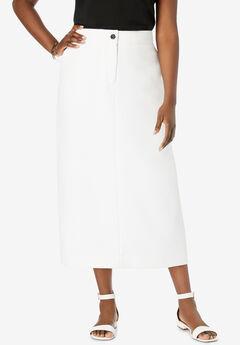 Tummy Control Bi-Stretch Midi Skirt, WHITE