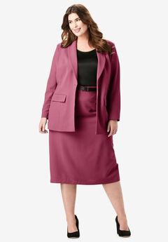 Single-Breasted Skirt Suit, DARK WINE