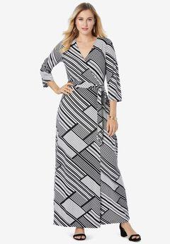 Faux Wrap Maxi Dress, BLACK DIAGONAL STRIPE