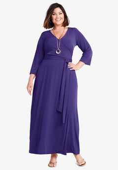Faux Wrap Maxi Dress, MIDNIGHT VIOLET
