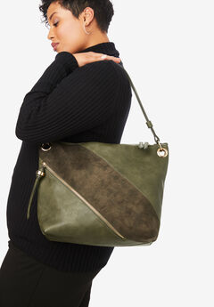 Zip Hobo Shoulder Bag, OLIVE GREEN