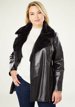 Faux Sherpa Leather Jacket, BLACK