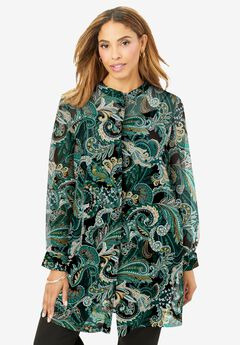 Georgette Button Front Tunic, DARK EMERALD PAISLEY