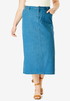 Classic Cotton Denim Long Skirt, MEDIUM STONEWASH
