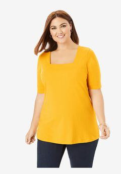 Square Neck Tee, SUNSET YELLOW