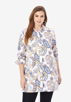 Poplin Tunic, WHITE PLAYFUL PAISLEY