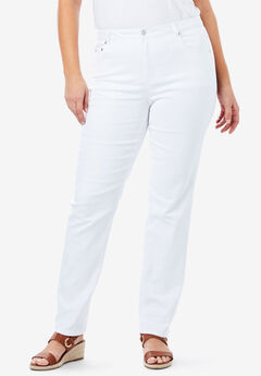 True Fit Straight Leg Jeans, WHITE