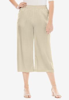 Tencel® Wide Leg Pants, LIGHT SAND