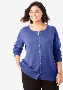 Fine Gauge Cardigan, ULTRA BLUE