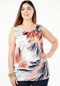 Sleeveless Satin Blouse, MULTI FEATHERY FLORAL