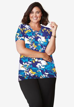 Fine Gauge Crewneck Shell, TURQUOISE SHADOW FLORAL