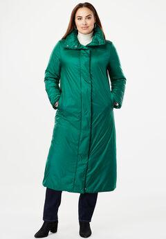 A-Line Puffer Coat, DARK EMERALD