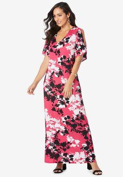 Cold Shoulder Maxi Dress, PINK BURST GRAPHIC FLORAL