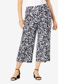 Travel Stretch Knit Cropped Pants, BLACK ETCHED FLORAL