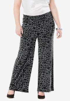 Travel Knit Wide Leg Pants, BLACK GIRAFFE PRINT