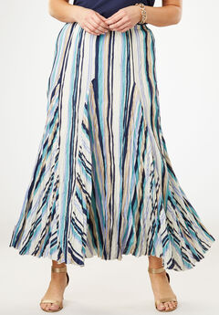 Cotton Crinkled Maxi Skirt, MULTI PAINTED STRIPE
