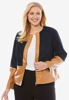Denim Jacket with Faux Leather Trim,