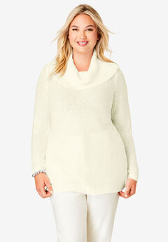 Sequin Cowl Neck Sweater,