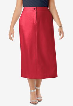 Tummy Control Bi-Stretch Midi Skirt, CLASSIC RED